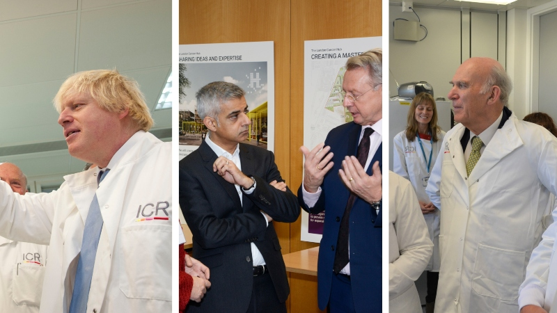 Boris Johnson, Sadiq Khan and Vince Cable at the London Cancer Hub